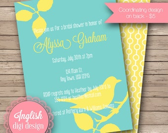 Bird on a Branch Bridal Shower Invitation, Printable Bridal Shower Invitation - Bird on Branch Invite in Aqua and Yellow