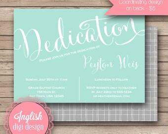 Printable Dedication Invitation, Dedication Invite, Calligraphy Dedication Invitation, Script Dedication Invite in Light Teal