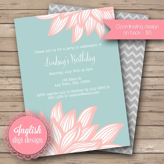 Printable Chrysanthemum Birthday Party Invitation, Floral Birthday Party Invite, Chrysanthemum Party Invite - Chrysanthemum in Coral, Blue