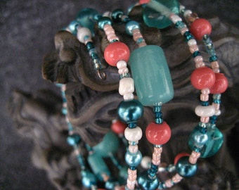 Coral and Mint Turquoise Beaded Memory Wire Bracelet Multi Strand Wrapped Bracelet