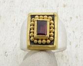 Garnet Ring - Gold & Silver Ring - Rectangle Signet Ring - Gemstone Ring - Statement Ring - Cocktail Ring