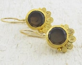 Gold Smoky Topaz  Earrings , 24k Gold Earrings with Smoky Topaz - Smoky Topaz Earrings - Ethnic Gold Earrings