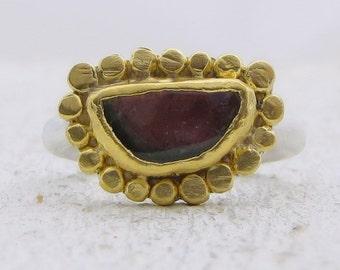 Watermelon Turmaline Ring - 24k Gold Turmaline Ring - Gold & Silver Ring - Engagement Ring - Gemstone Ring