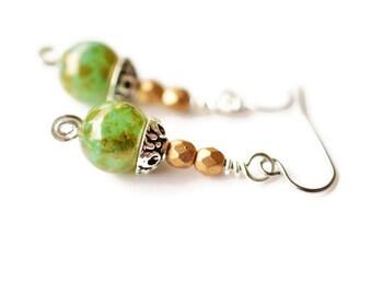 Green Czech Earrings, Surgical Steel Earrings, Peridot Bronze Earrings, Green Earrings, Handmade Earrings, Swirl Earrings