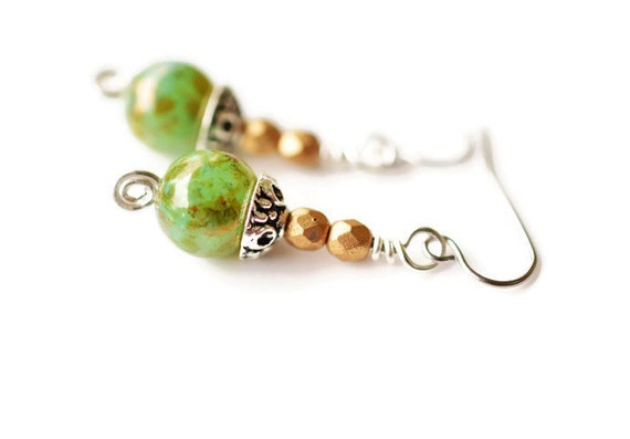 Green Czech Earrings, Surgical Steel Earrings, Peridot Bronze Earrings, Green Earrings, Handmade Earrings, Swirl Earrings
