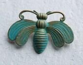 Bee Brooch ... Bumble Honey Bee Insect Verdigris Vintage