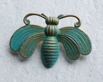 Bee Brooch ... Bumble Honey Bee Insect Verdigris Vintage