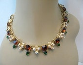 Vintage Rhinestone and Gold Tone Cluster Bead Necklace - Designer Quality