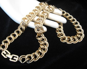 Vintage GIVENCHY Necklace -  Single Strand Double Link Gold Tone Chain Necklace