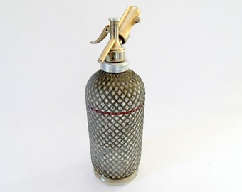 English ' Aerators ' Seltzer Bottle Siphon with Woven Wire  1910-30s Superbe
