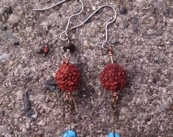 Rudraksha and Turquoise long earrings