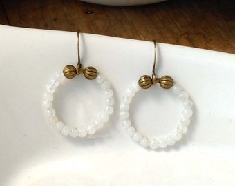Tiny White Moonstone Gemstones Earrings in a Circle with Antiqued Brass