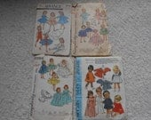 """REDUCED Vintage doll clothes patterns, 101/2"""", 12"""", 19-22"""", 4 total, as is,  Revlon, Ginny, Muffy, Alexander-kins"""