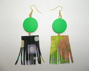 African flamenco fiesta fringe trendy tribal reversible earrings fabric printed boho dangle geometric neon green artful creative fashion