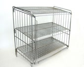 Vintage Metal Display Shelf Tabletop Industrial Chrome Mesh Reticulated Store Counter Shelves Break Down