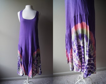 Vintage Boho Dress Tie Dye Dress Cotton Dress Summer Dress Beach Dress Vacation Dress Cover Up Medium Dress Hippie Dress Comfortable Dress