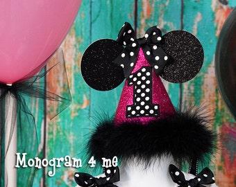 Minnie Mouse First Birthday Hat, Hot pink and black minnie, Birthday Cap
