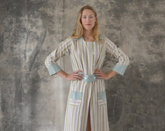 Edwardian Striped Linen Day Dress size L