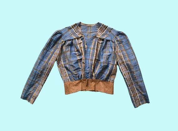 1900s Blue Plaid Victorian Blouse size S