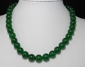 Necklace 48cm IN green Jade 12mm round and  925 Silver