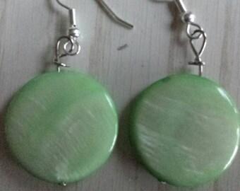 Light Green Shell Disc Earrings