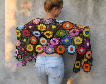 Caria rhacotis...Butterflies of the Amazon...Women Accessories,100% cotton,  Colorful, charcoal grey,Crochet shawl