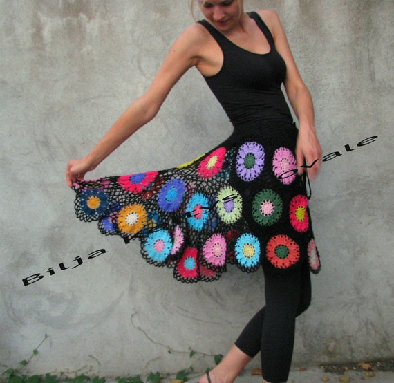Mini Gypsy skirt Transparent Colorful flowers on black background multicolor skirt S/M/L