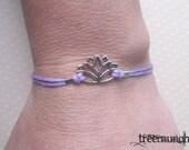 Lotus Friendship Bracelet, Flower Waxed Cord Bracelet or Anklet, Minimalist Jewelry, Body Jewelry, Zen Bracelet or Anklet, made in USA