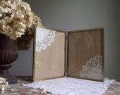 Hinged Metal Photo Frame / Vintage Gold Tone Frame / 8 x 10 Double Picture Frame / Ornate Folding Frame / Wedding Decor