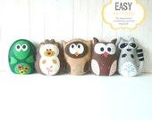 Woodland Stuffed Animal Sewing Patterns, Felt Animal Sewing Patterns, Turtle Hedgehog Owl Raccoon Plush Patterns