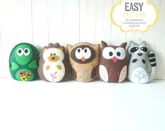 Woodland Stuffed Animal Sewing Patterns, Felt Animal Sewing Patterns, Turtle Hedgehog Owl Raccoon Plush Patterns