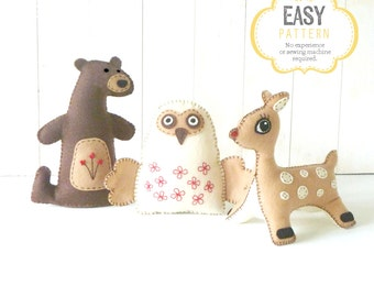Stuffed Animal Felties Sewing Patterns, Woodland Animal Hand Sewing Pattern, Felt Patterns, Plush Bear, Plush Owl, Plush Deer
