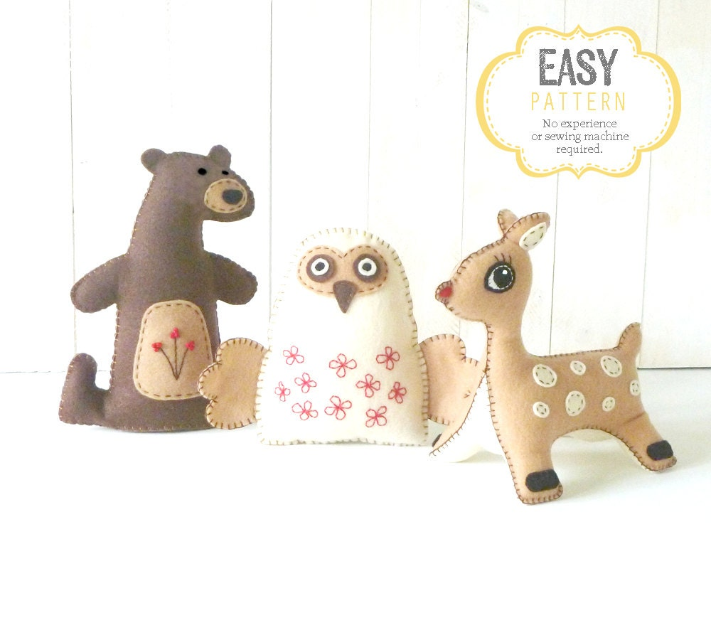 sewing templates for stuffed animals - stuffed animal felties sewing patterns woodland animal hand