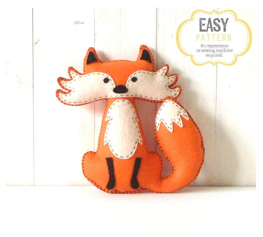 felt plushie templates - fox stuffed animal pattern felt hand sewing fox plushie