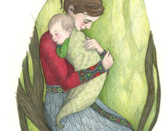 Original Drawing of Mother and Child Lullaby