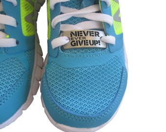 running shoe charm - inspirational running charm - running shoe tag - never give up