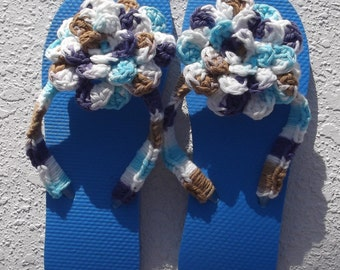 Flip Flops Womens Flip Flops Blue Flip Flops with Crocheted Flower size Medium 7 - 8