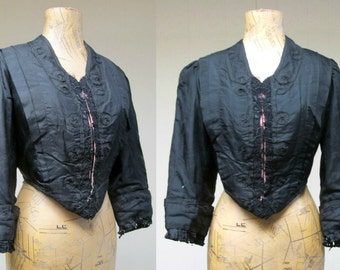 Antique Victorian Bodice / 1880s Silk Tafetta Goth Mourning Jacket / Medium