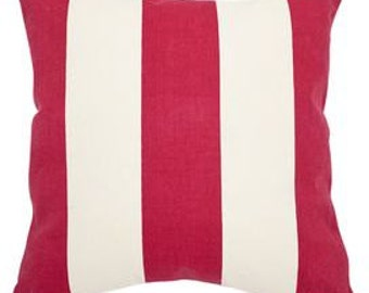 Red wide  cabana stripe pillow cover select your color and size