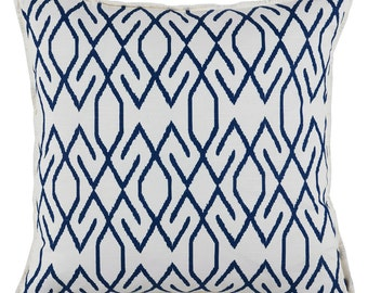 Pillow cover cushion cover blue ikat fabric