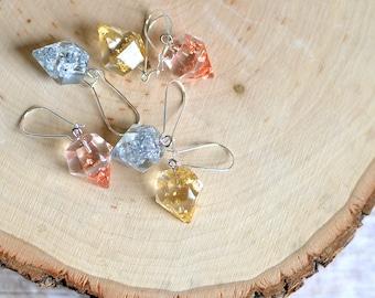 geometric jewelry, diamond earrings, geometric earrings, faceted jewelry, eco resin, contemporary jewelry, wholesale