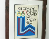 Vintage 1980 XIII Olympic Lake Placid Winter Games Mirror Wood Frame Wall Hanging--FREE SHIPPING