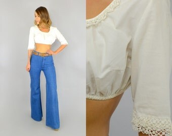 70's White Lace Crop Top