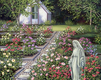 Rose Garden signed art print, garden of roses, statue of virgin Mary in the garden.
