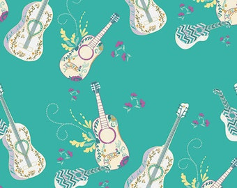 Teal Guitar Fabric Anna Elise Let it Be Breeze by Art Gallery, 1 yard