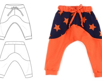Kids pants pattern contrasting top // pdf download // 0-3M to 5-6T // #74