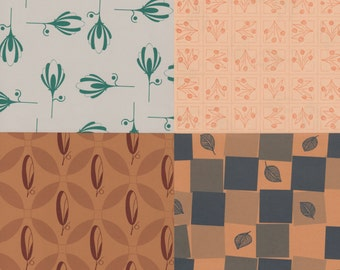 Mix & Match 12x12 Art Papers in Stylized Botanical Designs for Paper Arts, Bookbinding, Decor and More