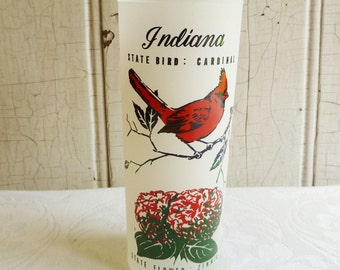 Vintage Indiana Souvenir Glass - Frosted Tumbler - Hoosier State Souvenir - Mid-Century 1960s - Cardinal, Zinnia and State Map