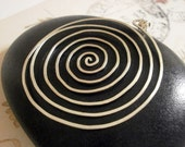 Large Silver Spiral Pendant Hammered Wire Pendant Big Circle Pendant Wire Jewelry Pendant for Necklace Labyrinth Pendant