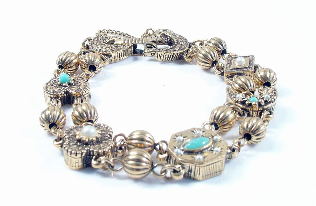 slide charm bracelet revival goldette style